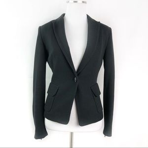 Zara Basic Knit Blazer Zipper Cuff Single Button
